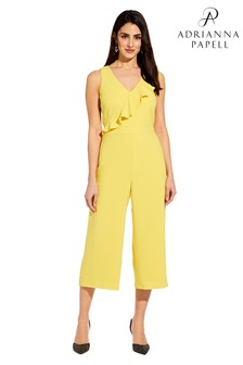 Adrianna Papell Yellow Gauzy Crepe Ruffle Jumpsuit