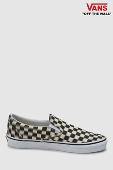 2ae54bf821 Vans Black White Blur Check Slip on Trainer
