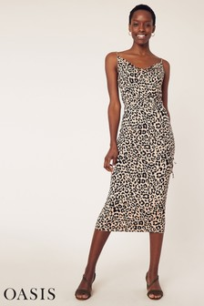 Oasis Animal Print Cowl Midi Dress