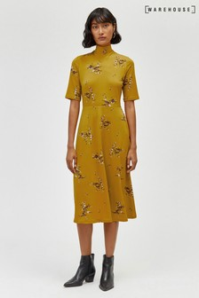 Warehouse Sprig Floral Midi Dress