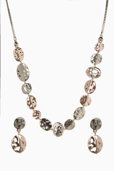Hammered Disc Necklace And Earrings Set