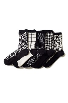 Check And Floral Pattern Ankle Socks Five Pack