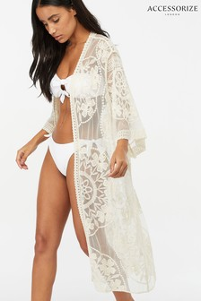 Accessorize Cream Jaki Long Lace Kimono