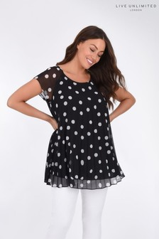 Live Unlimited Mono Spot Pleated Top