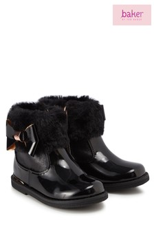 Baker by Ted Baker Black Patent Bktg Faux Fur Cuff Boot