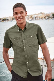 Chemise épaisse en lin à poches