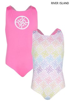 River Island Pink Bright Printed Swimsuits Two Pack