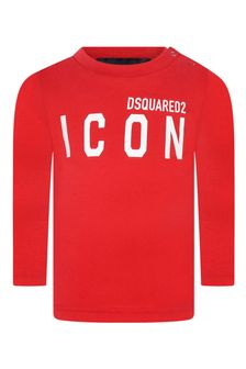 Kids Red Cotton Long Sleeve T-Shirt
