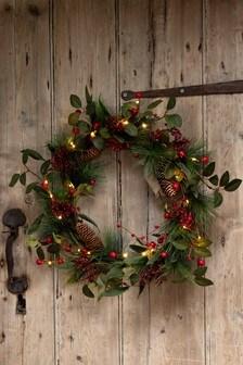 Lit Berry Wreath