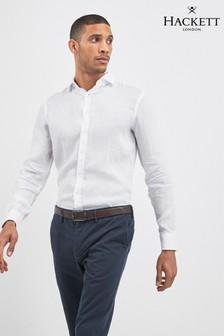 Hackett White Garment Dyed Linen Shirt