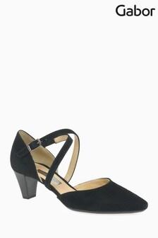 Gabor Black Suede Court Shoes