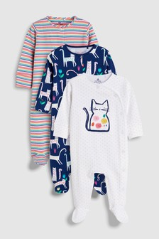 Cat And Stripe Sleepsuits Three Pack (0mths-2yrs)
