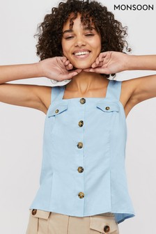 Monsoon Ladies Blue Bryony Linen Button Through Cami