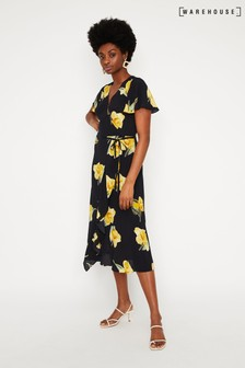 Warehouse Black/Yellow Floral Midi Wrap Dress
