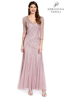 f17bc18c69b Adrianna Papell Pink Beaded Long Dress