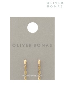Oliver Bonas Gold Tone Teah Oval Chain Link Drop Stud Earrings