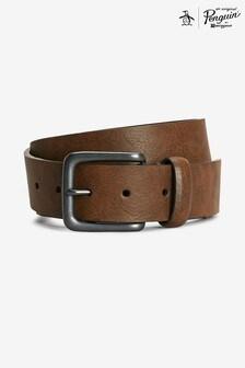 Original Penguin® Brown Tab Stitch Casual Belt