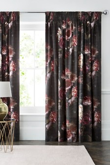 Aria Floral Velvet Pencil Pleat Curtains