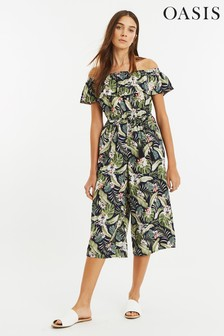Oasis Blue Tropical Bardot Jumpsuit