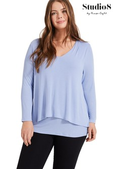 Studio 8 Blue Joy Double Layer Top