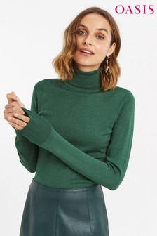 Oasis Green Lizzie Polo Neck