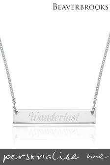 Personalised Silver Bar Necklace by Beaverbrooks