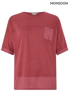 Monsoon Ladies Pink Alice Woven Mix Linen Top