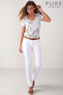 Pure Collection Jeans mit schmalem Bein, weiß