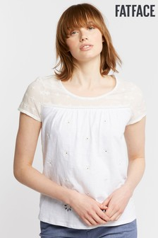 FatFace White Ellie Embroidered Tee