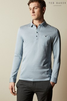 Ted Baker Blue Amuse Long Sleeved Oxford Polo