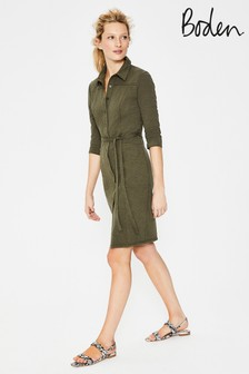 Boden Green Tara Jersey Shirt Dress