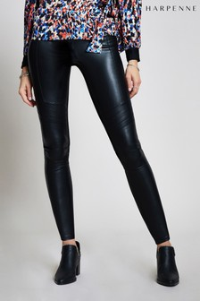 Harpenne Black Biker Faux Leather Leggings