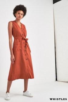 Lniana sukienka wiązana z przodu w kolorze rdzawym Whistles