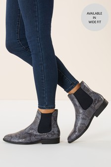 Snake Effect Chelsea Ankle Boots
