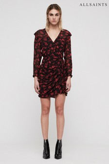 All Saints Black Rose Print Harlow Dress