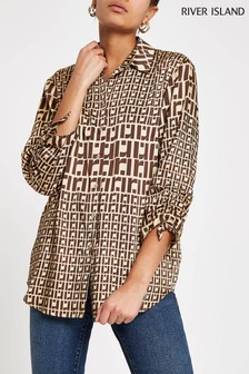 River Island Brown Geo Print Oversized Shirt