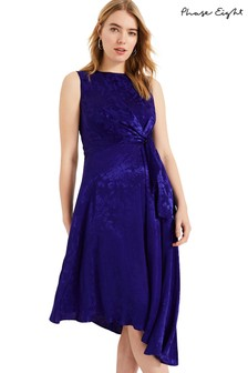 Phase Eight Blue Alexandrine Jacquard Knot Dress