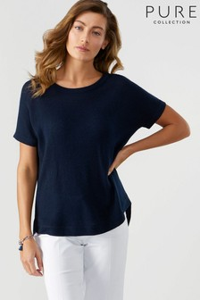 Pure Collection Blue Gassato Curved Hem T-Shirt