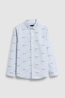 長袖條紋Oxford襯衫附鯊魚印花 (3-16歲)