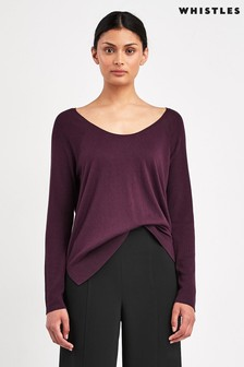 Whistles Burgundy Scoop Neck Silk Mix Knit Jumper