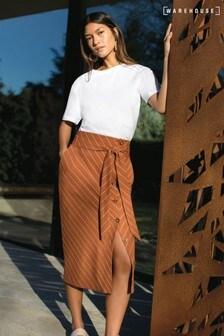 Warehouse Brown Linen Pencil Skirt