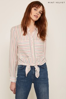 Mint Velvet Grey Rainbow Stripe Shirt