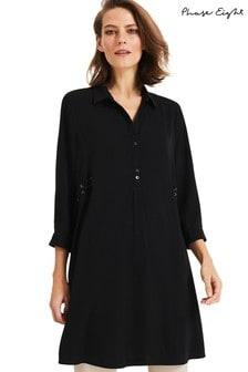 Phase Eight Black Esi Eyelet Tunic Dress