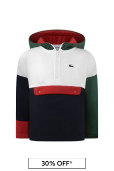 Boys Cotton Green/White Hoody