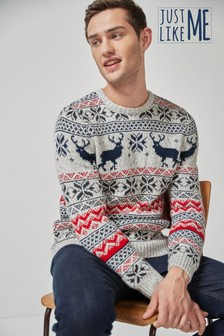Mens Matching Family Fairisle Pattern Crew Neck Jumper