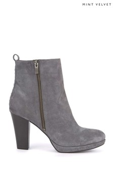 Mint Velvet Light Grey Harper Nubuck Studded Platform Boot