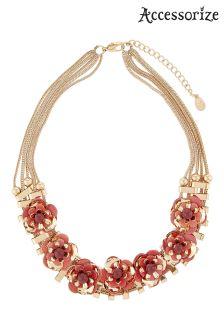 Accessorize Orange Sequin Flower Statement Necklace