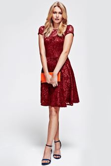 HotSquash Red Lace Fit N' Flare Dress