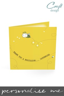 Personalised Bumble Bee Thank You Single Card by Croft Designs