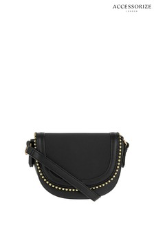 Accessorize Black Studded Saddle Bag